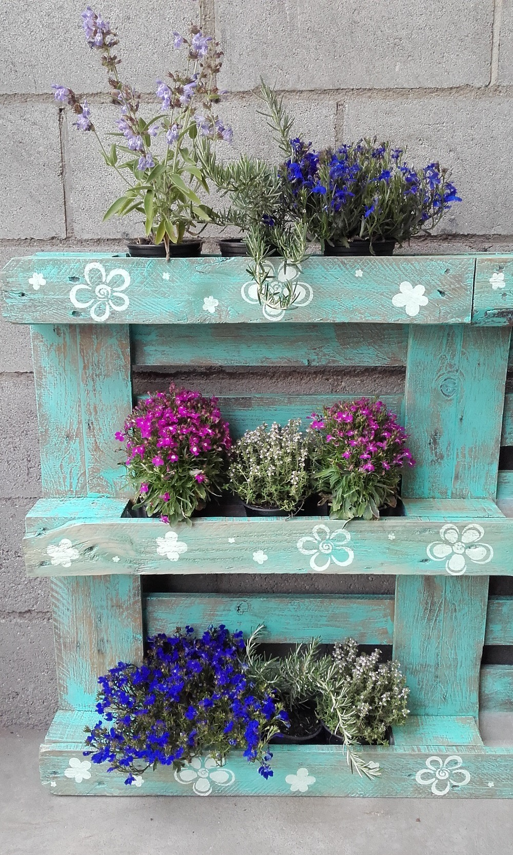 Palet de madera convertido en jardinera